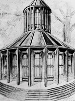 Design for the mortuary at the Prague Municipal Cemetery in Ďáblice, perspective drawing, 1911, Indian ink and pencil on paper, 52 x 38,7 cm