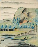 In Podolí, 1917, watercolour on paper, 49,7 x 40,5 cm