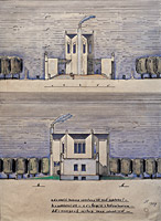 Competition design for a crematorium in Pardubice, frontal and lateral views, 1919, ink, Indian ink, and watercolour on paper, 45 x 36 cm